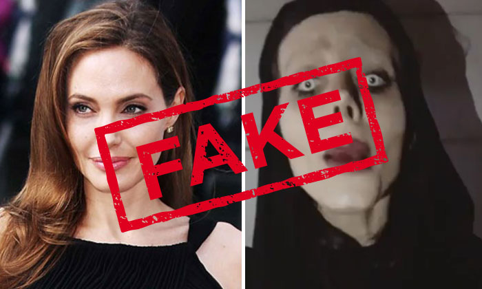 A comparison of Angeline Jolie (left) and a doctored photo of Sahar Tabar (right).