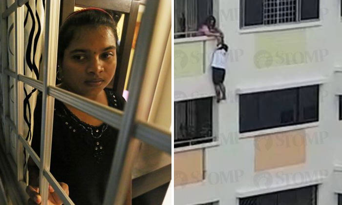 The maid (left) was captured on video (right) trying to climb back onto the corridors.