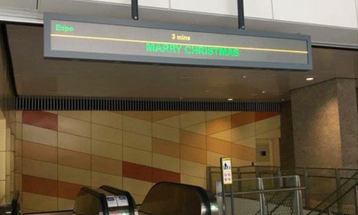Transport operator SBS Transit has apologised for a spelling error that read 'Marry Christmas' at one of its stations (PHOTO: PESANTKIE/REDDIT)