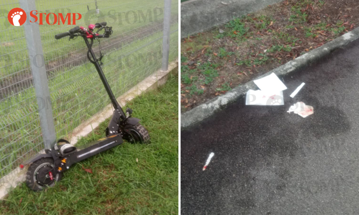 Left: The boy's e-scooter was damaged in the accident. Right: Tissues stained with the victim's blood.