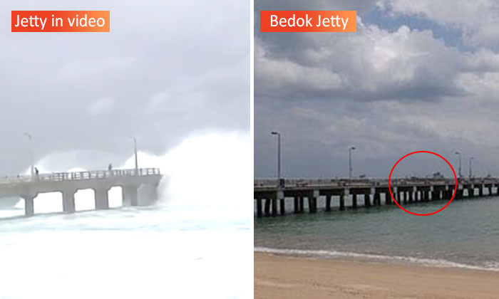 Comparison between the jetty in the video (left) and the actual Bedok Jetty (right) which sports several structures missing in the video.