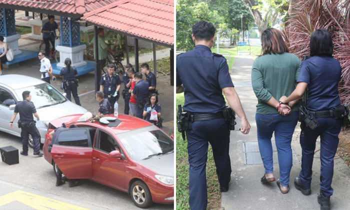 The cars were pulled over at a bus stop in Bishan (left). A 24-year-old woman was arrested for drug-related offences (right). PHOTOS: LIANHE WANBAO