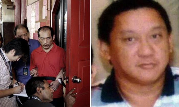 Loh Suan Lit (dressed in red on left) attacked and killed Mr Tan Poh Huat (right) after during a failed burglary at a temple.