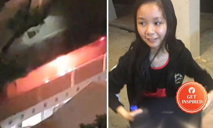 Ms Hong Meiqi(right) decided to stay and warn her neighbours about the fire(left).