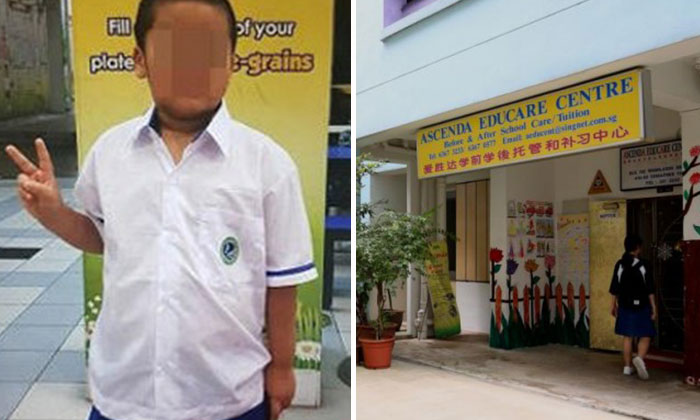 Photo: Wanbao. The boy (left) who went missing after alighting at from a bus at the entrance to the childcare centre (right).