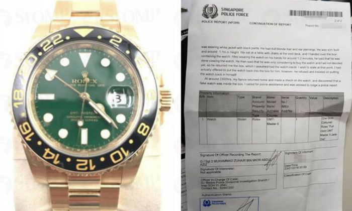 Mr Tang Guoxian realised that his $35,000 gold watch (left) was swapped with a fake one. He has since made a police report. (right) PHOTOS: LIANHE WANBAO