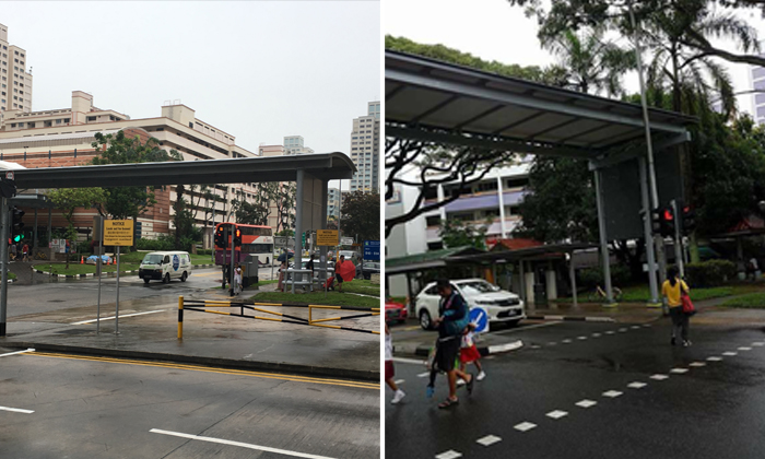An isolated shelter at Bishan Street 13 (left) and a shelter built next to a traffic crossing (right)