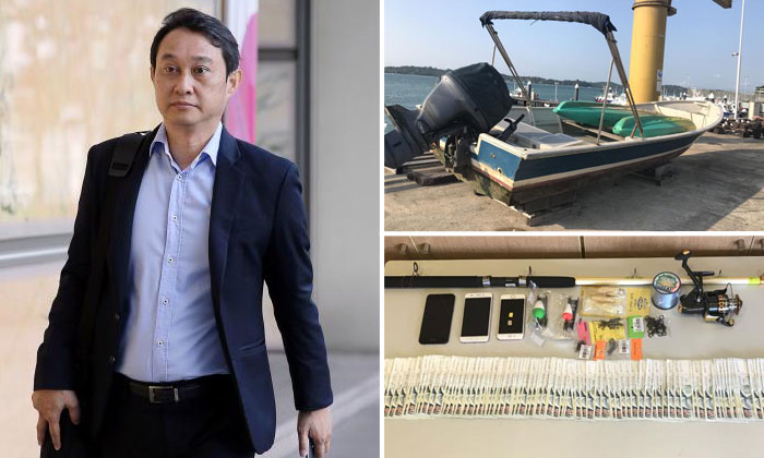 Former City Harvest Church fund manager Chew Eng Han was arrested along with another man at 8.47am on board a motorised sampan.PHOTOS: JONATHAN CHOO, ST FILE, SPF