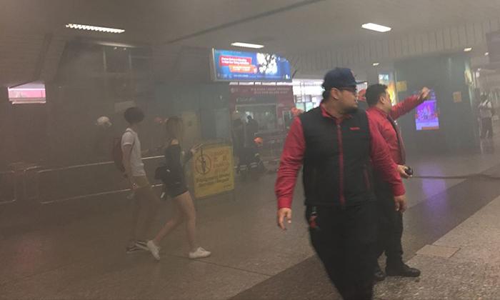 Smoke was seen at Ang Mo Kio station was said to have came from an escalator. (PHOTO: JAS CHUA/FACEBOOK)