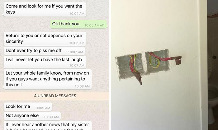 Messages exchanged between Rui Lin and Eddie (left) and photo of the Madam Tan's damaged flat (right)