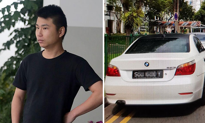 Hong (left) used a licence plate bearing the same number as the victim's vehicle on his rented car. Photo: Shin Min Daily News