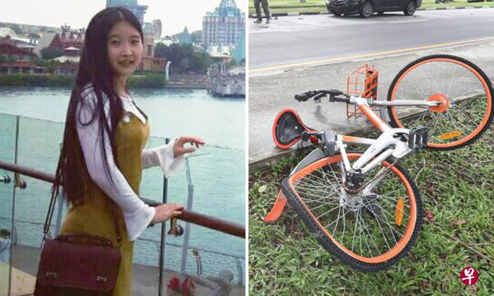 Ms Wang Yuling (left) was riding a Mobike (right) when she was hit by a car on March 27. She died on April 3. Photos: Facebook, Lianhe Wanbao