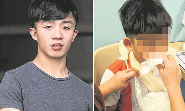 Du Aiwen, 22, (left) was fined $1,500 . The boy (right) suffered mild injuries after the collision.