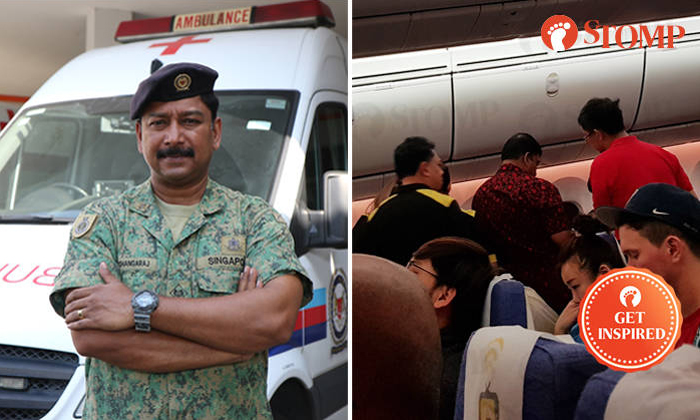SAF medic Thangaraj R. Krishnasamy (left) was lauded by a passenger for his actions on board a Scoot flight when a boy experienced breathing difficulties. Photos: Mindef, Stomper R