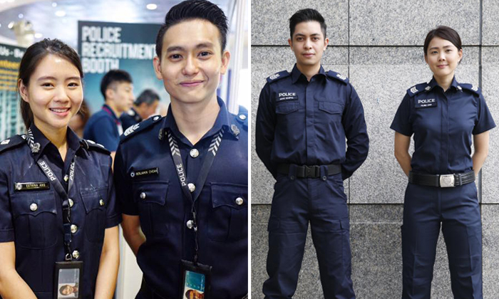 Left: The old police uniform. Right: The new police uniform. Photos: The Straits Times, Singapore Police Force