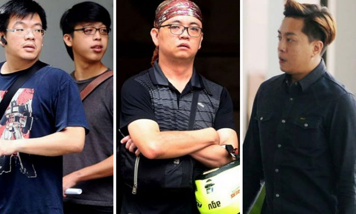From left: Thomas Leong Sin Kwang, Tay Woei Chain, Ng Yeow Tim and Tan Wee How were sentenced to jail for attacking Argentinian Roman Barros Griffiths (not pictured). ST PHOTOS: WONG KWAI CHOW