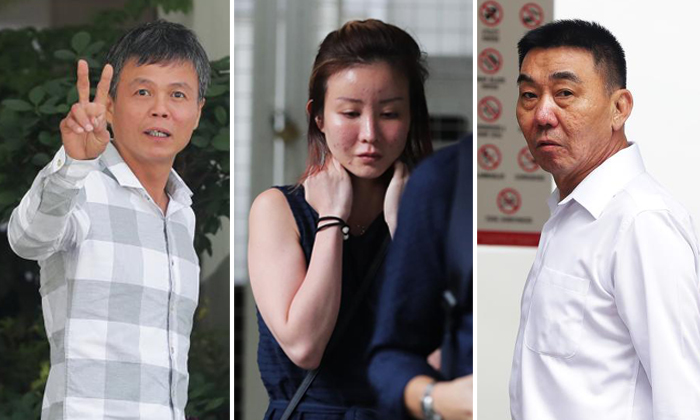 Ong Hock Chye (left) and Lim Hong Liang (right) are on trial for alleged involvement in a conspiracy to cause grievous hurt to Mr Joshua Koh Kian Yong, whom Ms Audrey Chen Ying Fang (center) was dating. Photos: The Straits Times