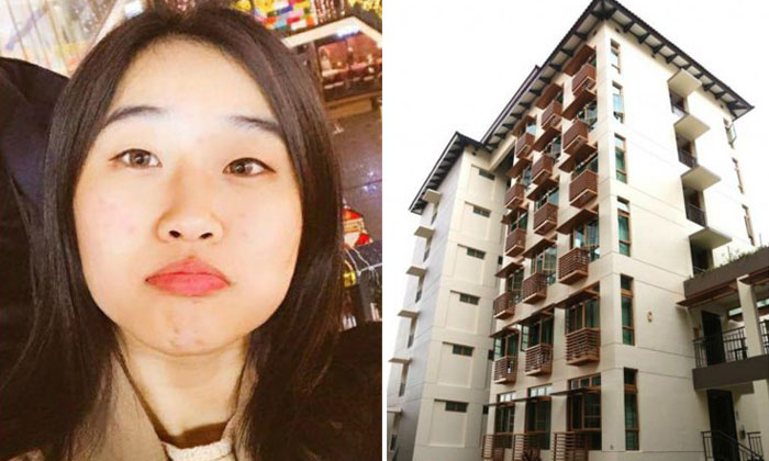 South Korean national Jung Haelin had fallen from a seventh storey laundry ledge at Sheares Hall after mistakenly locking herself out of her room. PHOTOS: ARNON RUNGARUNSIRICHOKE/LIANHE WANBAO