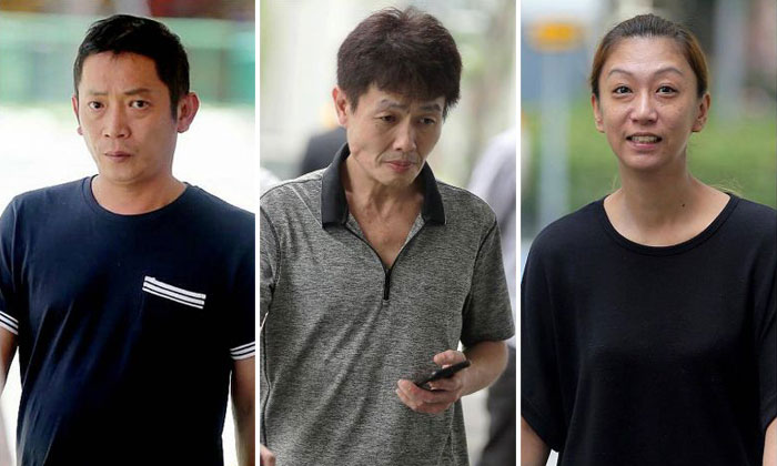 (From left) Tan Sung Meng and Ang Sim Poh were each sentenced to six weeks in jail while Pang Pei Pei was jailed for four weeks. ST PHOTOS: WONG KWAI CHOW