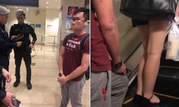 The 27-year-old suspect was arrested in relation to a case of insulting a woman's modesty. PHOTO: FITRI HAKIM