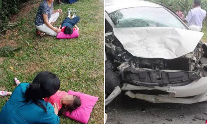 A couple was killed and their two children injured after an accident near Tangkak in Malaysia. PHOTO: LIANHE WANBAO