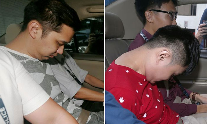 Poon Hong Kuan (right) and Chow Zhi Hong are accused of dishonestly receiving stolen property - $100,000 in cash - from a man. ST PHOTO: WONG KWAI CHOW