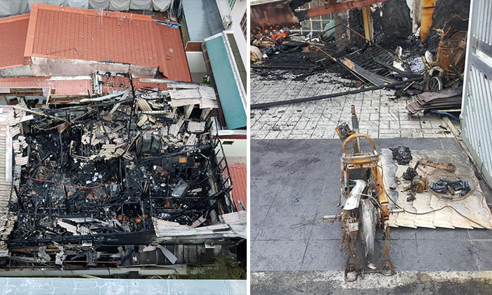 An aerial view on the extent of the damage caused by the fire (left) and the remains of the burnt Power Assisted Bicycle (right). PHOTO: SCDF's FACEBOOK PAGE