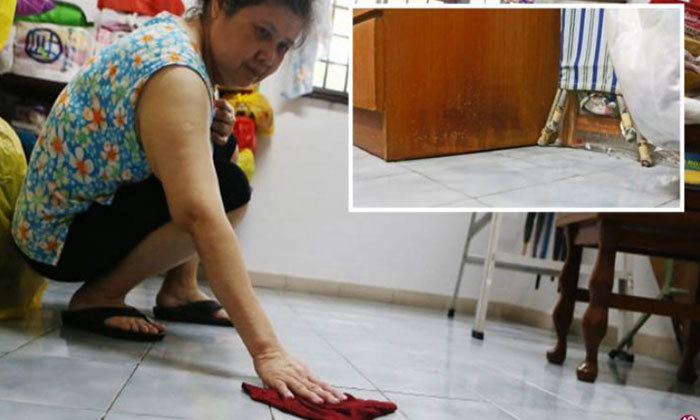 Ms Yang said she has to wipe her floor several times a day, and some furniture pieces in her house have become mouldy. PHOTO: LIANHE WANBAO