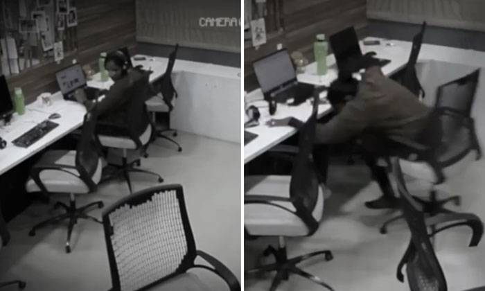 Chairs Roll And Bottle Gets Flung On Their Own In Creepy Office But Woman Carries Working