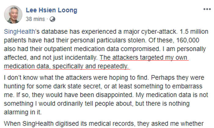 Singapore health database breached, data of 1.5m stolen""