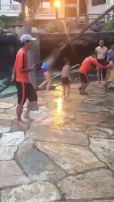 Hysteria as child is dragged from pool in china after - The last picture show swimming pool scene ...