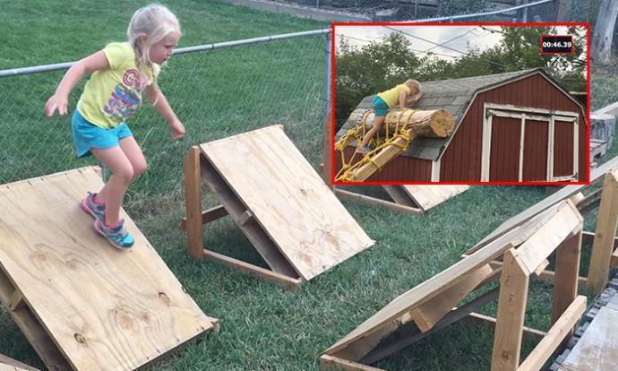 Dad Makes Ninja Warrior Course For Daughter In Backyard