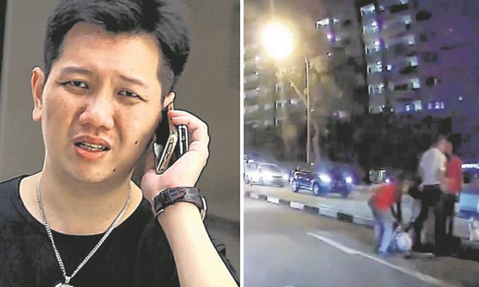 Lee Cheng Yan (left photo) fled after hitting the officer with his Maserati. Photo: Lianhe Wanbao