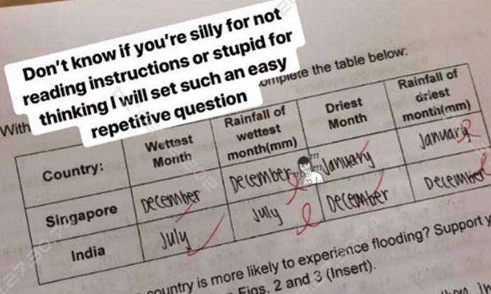 The male teacher not only uploaded a photo of the student's answers, but also mocked him. PHOTO: INSTAGRAM