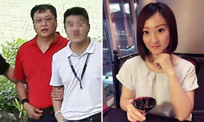 Laundry shop manager Leslie Khoo Kwee Hock (in red) admitted he had strangled Ms Cui Yajie in his BMW and later burned her body at Lim Chu Kang Lane 8 over several days. PHOTOS: SHIN MIN DAILY NEWS