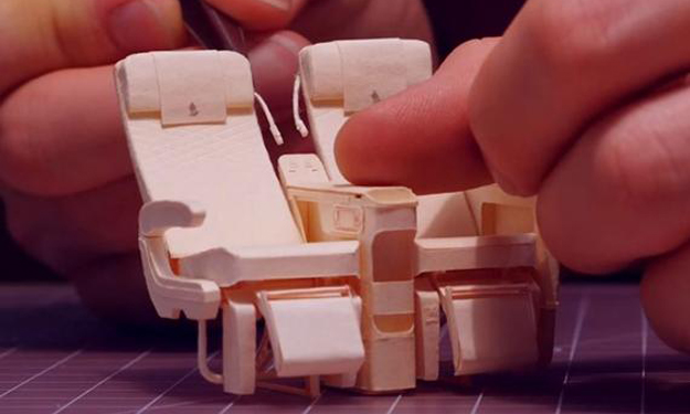 San Francisco designer builds mini SIA Airbus A380 with over 100 manila folders