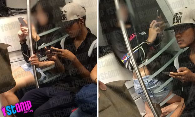 Young couple cannot keep their hands off each other on board MRT train