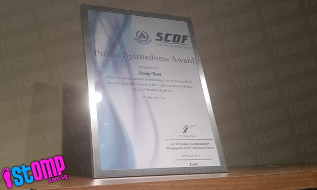 Stomp Team receives Public Spiritedness Award from SCDF for act of kindness