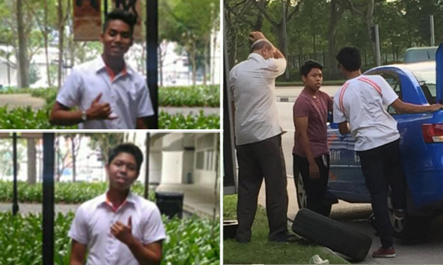ITE students who helped elderly cabby change tyre: He was sweating and having trouble, so we volunteered to help