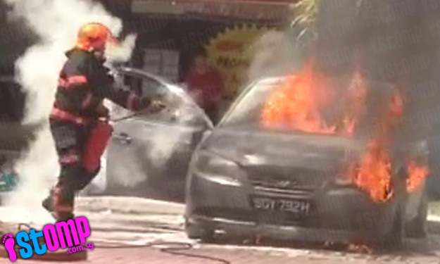 Heart-pounding video shows firefighters battle blaze from burning car at Boon Keng carpark
