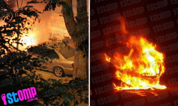 Car goes up in flames in dead of night near Block 572 in AMK