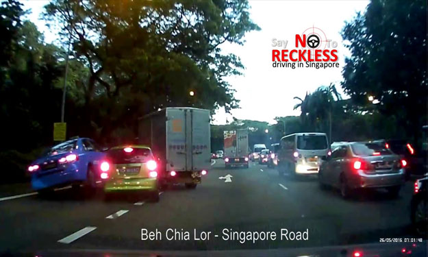 Speeding lorry driver swerves to avoid accident, but ends up crashing into Kia and taxi