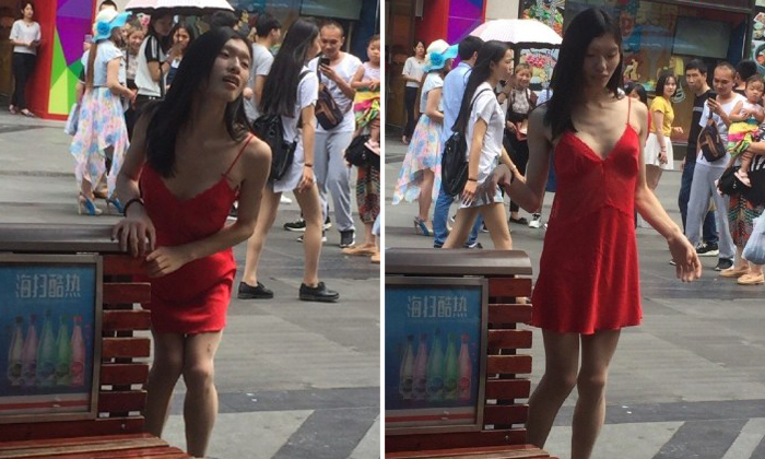 Why netizens want to beat up this Chengdu pedestrian in a pretty red dress