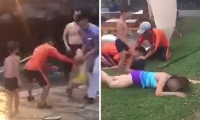 Hysteria as child is dragged from pool in China after allegedly getting electrocuted