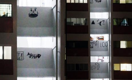 Vandals deface Marsiling HDB block: Stairwell walls from 16th to 21st storeys marked with drawings