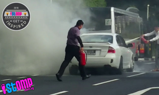 Don't worry about this burning car on Farrer Road -- thanks to these heroes who saved the day