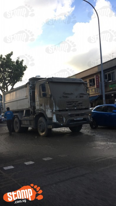 What a mess! Concrete 'explodes' all over tipper truck at Upper Thomson Rd