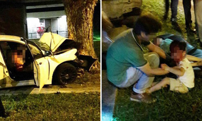 Car carrying family of 4 crashes into tree on Lentor Ave; wife dead, husband arrested