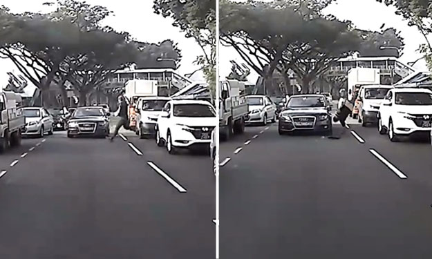 Jaywalker runs across road -- and is sent flying by car at Upper Thomson Road
