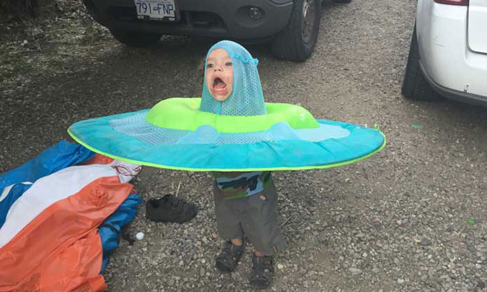 Kid with toy water raft on his head gets turned into Photoshop masterpiece
